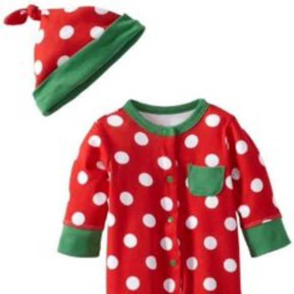 4d938a73439ad OFFSPRING HOLIDAY DOT BABY ONE PIECE FOOTIE   HAT
